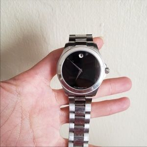 Movado silver and black watch